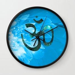 Om Shanti (blue-green) Wall Clock