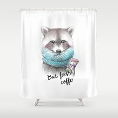 raccoon pencil and watercolor illustration Shower Curtain
