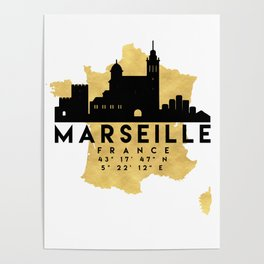 MARSEILLE FRANCE SILHOUETTE SKYLINE MAP ART Poster