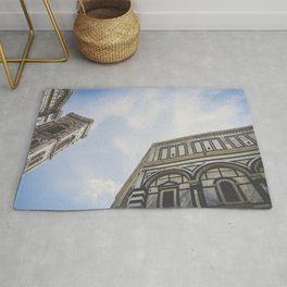 Piazza del Duomo: Giotto's Campanile & Florence Baptistery close up in Florence, Italy / Art print Rug