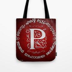 Joshua 24:15 - (Silver on Red) Monogram P Tote Bag