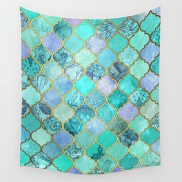 Cool Jade & Icy Mint Decorative Moroccan Tile Pattern Wall Tapestry