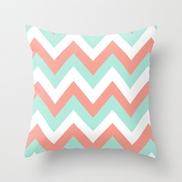 MINT & CORAL CHEVRON Throw Pillow