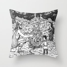 a Mage, a Wizard and a Sorcerer Throw Pillow