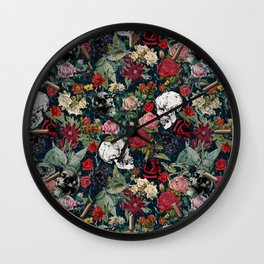 Distressed Floral with Skulls Pattern Wall Clock