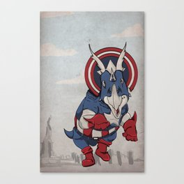 Captain Ameritops - Superhero Dinosaurs Series Canvas Print