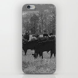 Black & White Cattle Grazing Pencil Drawing Photo iPhone Skin