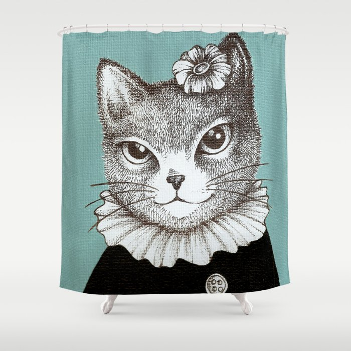 Blue Cat - Ink and acrylic cat art Shower Curtain