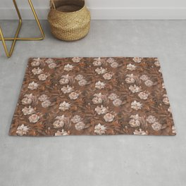 White Roses, Brown Shades Vinateg Bloom Floral Pattern Retro Botanical Rug