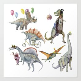 PARTY OF DINOSAURS Art Print