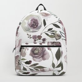 dusty rose floral watercolor Backpack