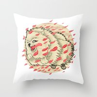pomeranian Throw Pillows featuring Pomeranian in Autumn by Jack Haughey