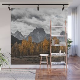 Teton Fall - Autumn Colors and Grand Tetons in Black and White Wall Mural