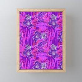 Retro Purple Hawaiian Tribal Turtle Pattern Framed Mini Art Print