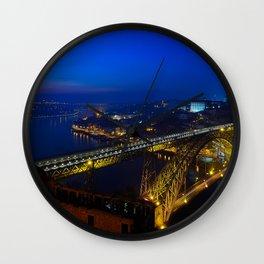 Porto Portugal Bridges river night time Street lights Cities Building Oporto bridge Night Rivers Houses Wall Clock