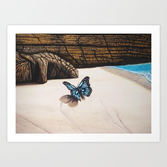 Le papillon de l'amour bleu azur Art Print
