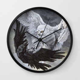 Yin Yang Owl and Raven Wall Clock