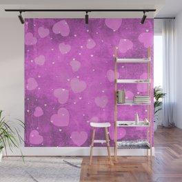Soft Pink Romantic Heart Pattern Wall Mural