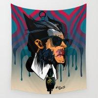 karl Wall Tapestries featuring wolvereen  vs Karl Lagerfeld  by el brujo