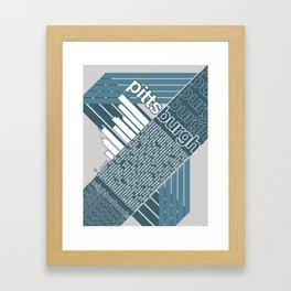 Pittsburgh Neighborhoods, rev. 2 steel-blue hues Framed Art Print