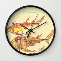 nurse Wall Clocks featuring Nurse Sharks by Ryan van Gogh