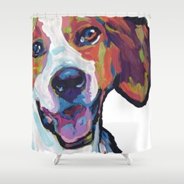 Fun American Foxhound Dog Portrait bright colorful Pop Art by LEA Shower Curtain