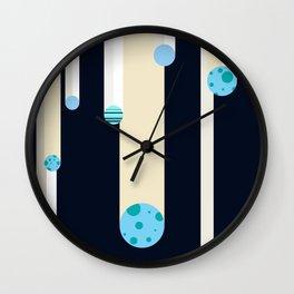 Flying Blue Objects Wall Clock