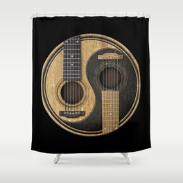 Aged Vintage Acoustic Guitars Yin Yang Shower Curtain