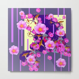 Modern Artwork Pink Wild Roses Purple Grey Design Metal Print