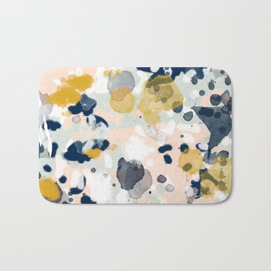 Esther - abstract minimal gold navy painting home decor minimalist hipster art Bath Mat
