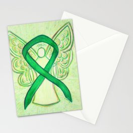 Green Awareness Ribbon Angel Art Painting Stationery Cards
