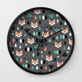 Geometric fox woodland forest pattern Wall Clock