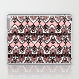 Blush Pink Black and White Ornate Lace Pattern Laptop & iPad Skin