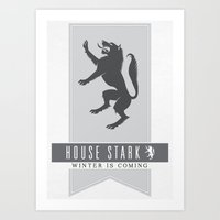 house stark Art Prints featuring House Stark Sigil by P3RF3KT