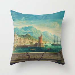 Capriccio of a Mediterranean Seaport Landscape No. 1 by Rex Whistler Throw Pillow