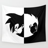 goku Wall Tapestries featuring Goku & Vegeta SS4 Face  by Prince Of Darkness
