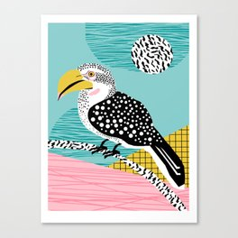 What - memphis tropical retro neon throwback 1980s 80s style hipster abstract bird vacation nature Canvas Print