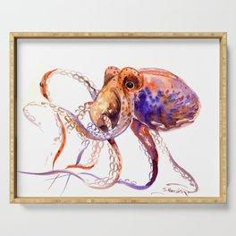Octopus, orange purple aquatic animal design Serving Tray