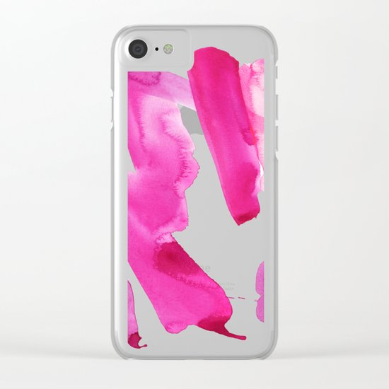 Pink Abstract I Clear iPhone Case