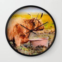Highland cow watercolor painting #1 Wall Clock