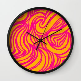 IRON of STEEL yellow on pink Wall Clock