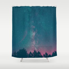 Blue Purple Pink Silhouette Milky Way Galaxy Forest Shower Curtain
