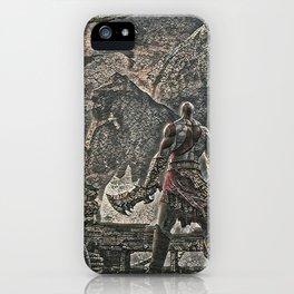 God of War Kratos Artistic Illustration Pebbles Style iPhone Case