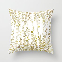 golden string of pearls watercolor Throw Pillow