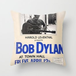 Vintage 1963 Bob Dylan Concert Poster Throw Pillow