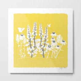 Wildflowers on Yellow Metal Print