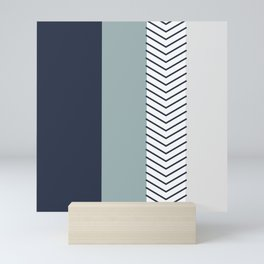 Seabreeze Green Navy Grey Arrow Design Mini Art Print