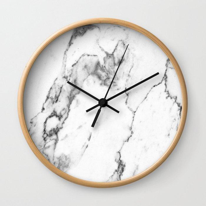 White Marble I Wall Clock