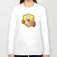 crossfit Long Sleeve T-shirts featuring Crossfit Athlete Runner Barbell Shield Retro by patrimonio