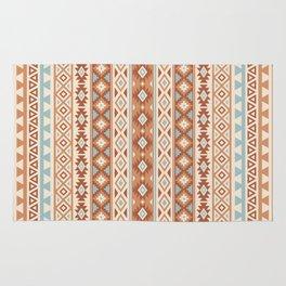 Aztec Stylized Pattern Blue Cream Terracottas Rug
